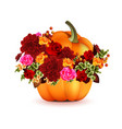 Pumpkin with Flowers vector image