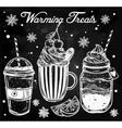 Tasty warming drinks set in vintage style vector image