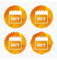 Calendar sign icon October month symbol vector image