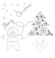 Santa is flying in space near his rocket tree vector image