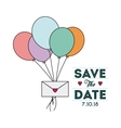 Balloons and envelope icon Invitation and save vector image