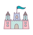 pastel color sandcastle icon with flag vector image