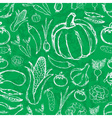simple hand drawn doodle vegetables on green board vector image