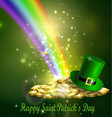 st patrick s day symbol green hat and gold vector image