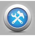 blue button white claw hammer with spanner icon vector image