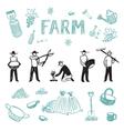 Farm set 4 vector image