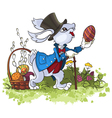 Cute Easter Rabbit with basket and eggs vector image vector image