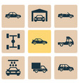 automobile icons set collection of convertible vector image