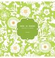 Green and golden garden silhouettes frame seamless vector image