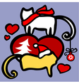 xmas cats in love vector image