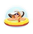 Beautiful girl swim vector image vector image