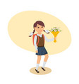 girl in uniform with flowers goes to school vector image