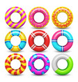 rubber swimming ring isolated set vector image