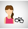 woman character glasses 3d movie design vector image