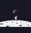 astronaut stand on surface of moon vector image