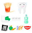 dental care set icons in cartoon style big vector image