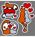 cats in love stickers vector image