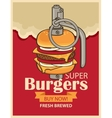 Burger in military grenade vector image vector image