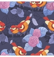 Seamless pattern with bright birds leaves and vector image