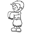 simple black and white little boy in big clothes vector image vector image