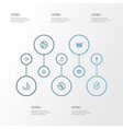 audio outline icons set collection of equalizer vector image