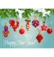 Holiday bauble balls on pine branch vector image