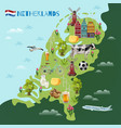 holland cultural travel map poster vector image