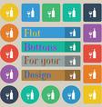 Wine Icon sign Set of twenty colored flat round vector image