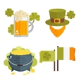 Set of flat cons for StPatricks day vector image