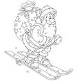 Santa skiing with gifts vector image vector image