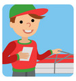 pizza delivery man in uniform standing with box in vector image