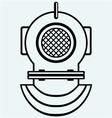 Old diving helmet vector image