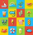 Flat icons of holiday journey summer symbols sea vector image