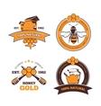 Retro beekeeper honey labels badges vector image
