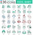 Baby kids flat line outline icons for apps vector image