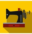 Black old sewing machine flat icon vector image