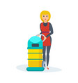 girl retracts in hotel vacuums collects dust vector image
