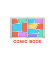 linear colored comic book logo vector image