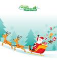 Santa Claus Riding On Sleigh vector image