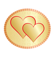 two golden valentines vector image