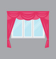 plastic window with pink curtains isolated vector image