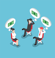 Isometric businesspeople dreaming about money vector image