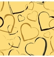 Golden seamless pattern with hearts vector image