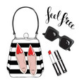 bag glasses lipstick on a white background with vector image