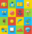 Flat icons of holiday journey summer pictogram sea vector image