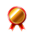 Golden medal quality mark isolated on white vector image