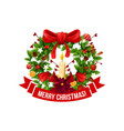 merry christmas greeting wreath icon vector image