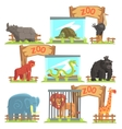 Wild Animals Behind The Shed In Zoo Set vector image