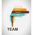 Word spell TEAM on colorful paper stripes vector image vector image
