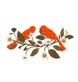 White Flowers and Red Birds on Twig Composition vector image vector image